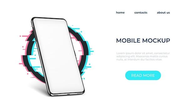 Modello realistico di smartphone. cornice per smartphone con schermo vuoto. illustrazione vettoriale telefono realistico mock up sulla pagina web di accesso