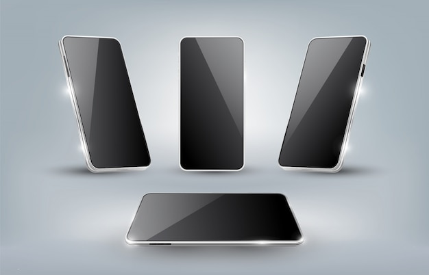 Il modello realistico dello smartphone con esposizione in bianco ha isolato i modelli, l'angolo differente come la vista frontale, la vista di prospettiva, illustrazione
