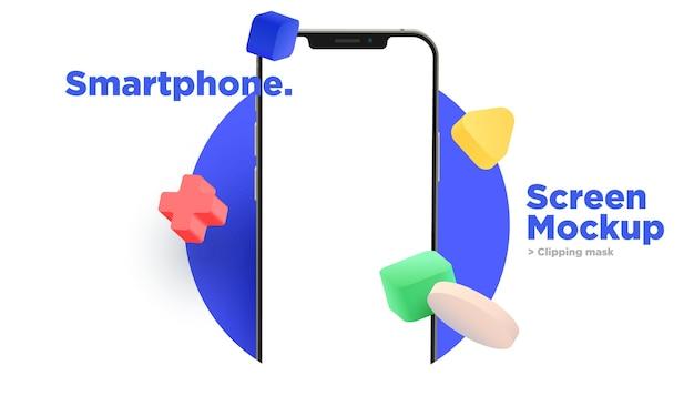 Mockup di schermo realistico dello smartphone con decorazioni di forma geometrica astratta colorata