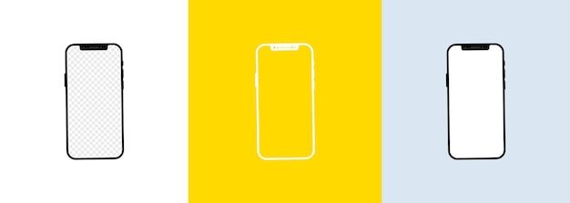 Set di schermi per smartphone realistico. cornice del telefono con modelli isolati display vuoto.