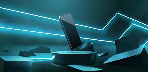 Modello di smartphone realistico sulla scena di sfondo futuristico al neon