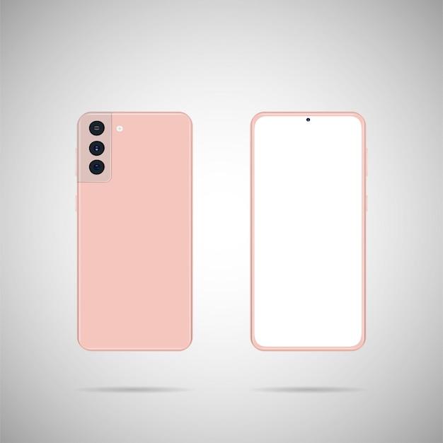 Smartphone realistico con illustrazione anteriore e posteriore. Vettore Premium