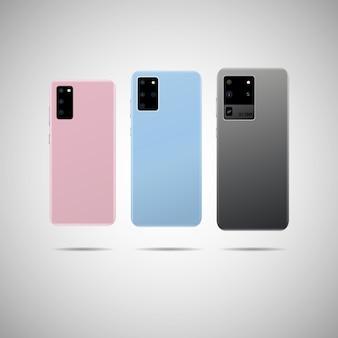 Smartphone realistico con illustrazione posteriore.