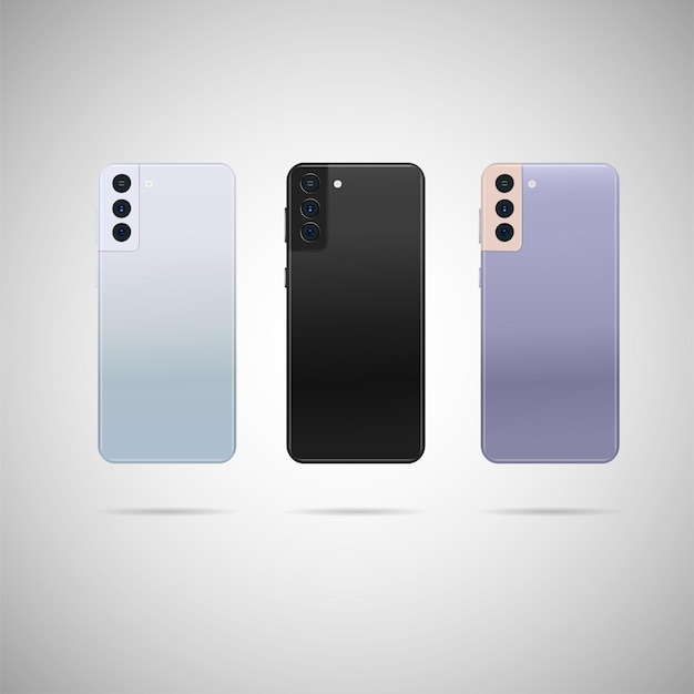 Smartphone realistico con illustrazione posteriore. Vettore Premium