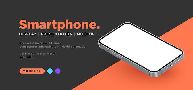Smartphone realistico con presentazione mockup schermata vuota