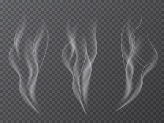 Effetto fumo realistico impostato isolato su sfondo trasparente.
