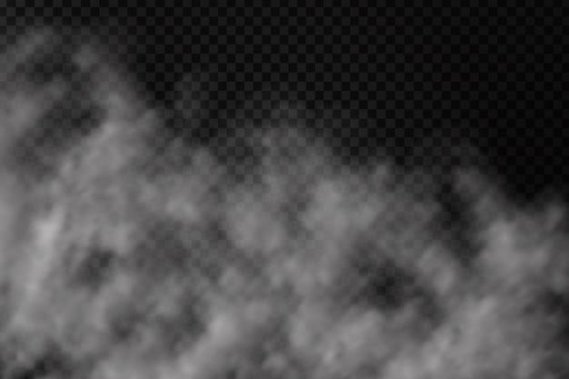 Effetto fumo realistico sullo sfondo trasparente. nebbia o nuvola realistica per la decorazione.