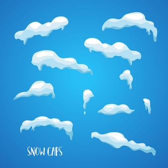 Set di neve realistica, calotte di ghiaccio e cumuli di neve.