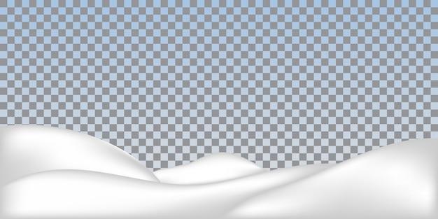 Cumulo di neve realistico isolato. paesaggio innevato.