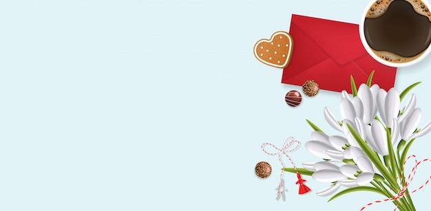 Bucaneve, cioccolato, busta e caffè realistici, simbolo della molla, floreale, fondo del mazzo di stagione