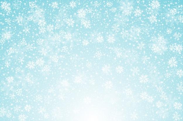 Sfondo realistico nevicata Vettore Premium