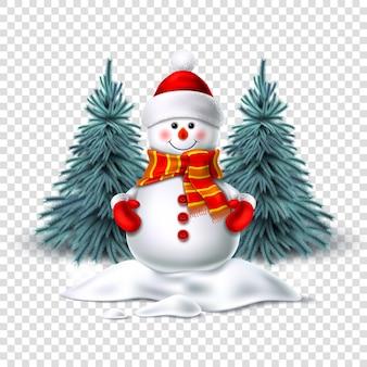 Pupazzo di neve realistico sorridente in piedi nella neve vicino agli alberi di abete rosso. carattere natalizio