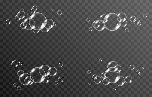 Bagliore realistico di bolle di sapone png