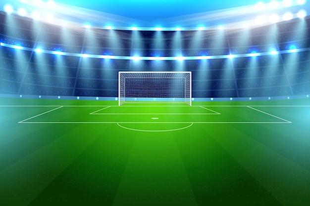 Stadio luminoso di calcio realistico per la partita di gioco della squadra di calcio. arena sportiva da competizione illuminata con riflettori lucidi ed erba verde di notte illustrazione vettoriale modello poser pubblicità
