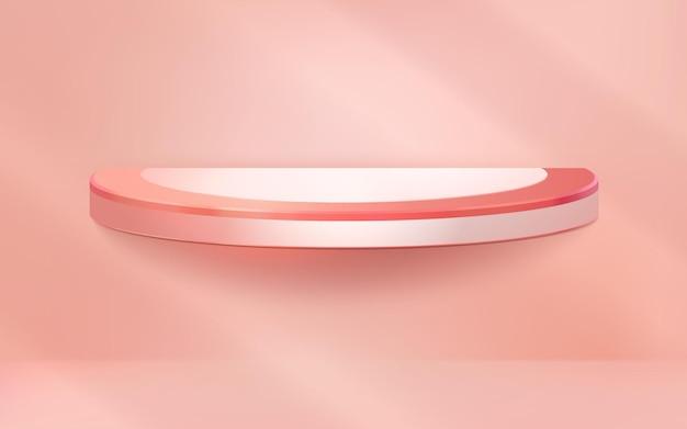 Podio realistico morbido ed elegante su sfondo rosa pastello per prodotti da esposizione