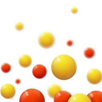 Sfere morbide realistiche. bolle di plastica. sfere lucide. forme geometriche 3d, sfondo astratto. copertina moderna o concept design della relazione annuale. banner dinamico o carta da parati con palline. modello.