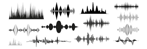 Set di onde sonore realistiche. raccolta di segnali musicali radio a frequenze diverse. l'illustrazione delle tecnologie di equalizzazione digitale e delle linee pulsanti o la registrazione vocale batte il mockup delle vibrazioni.