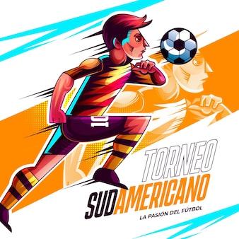 Illustrazione realistica del torneo di calcio sudamericano