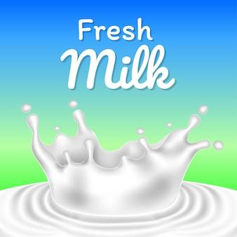 Vettore realistico dell'illustrazione della spruzzata o della goccia del latte fresco