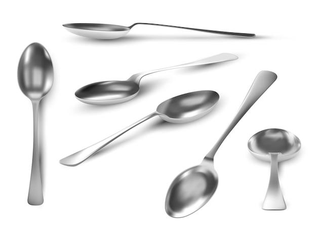 Viste realistiche del cucchiaio. utensile da tavolo in metallo 3d. cucchiaino in acciaio top, angoli e vista laterale. cucchiai d'argento per set vettoriale di caffè, tè o dessert