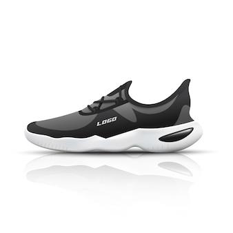 Sneakers da corsa sport realistico per allenamento e fitness su bianco