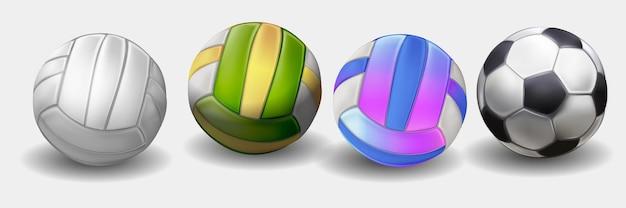 Palle sportive realistiche per giocare insieme di illustrazioni vettoriali. icone rotonde dell'attrezzatura sportiva isolate su fondo bianco. illustrazione del pallone da calcio e pallavolo