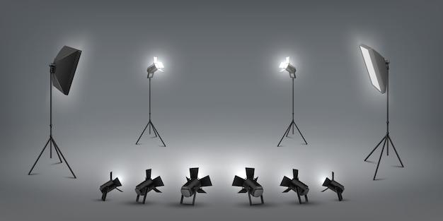 Riflettori realistici. effetti di luce da studio, proiettori e softbox, studio fotografico e luci di scena