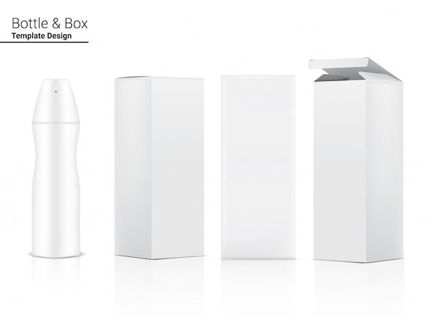 Flacone spray realistico per il prodotto di imballaggio del profumo e contenitore di scatola su sfondo bianco, famiglia e disegno del modello medico.