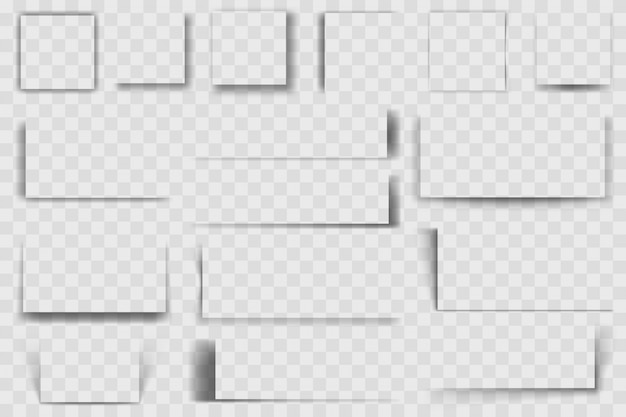 Ombre quadrate realistiche. ombreggiatura quadrata, sfumature trasparenti dei bordi morbidi, ombre quadrate scure illustrazione insieme. effetto ombra quadrato, collezione trasparente realistica rettangolo