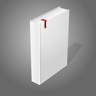 Libro con copertina rigida in bianco bianco in piedi realistico con segnalibro rosso