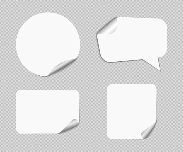 Note appiccicose realistiche isolate con ombra reale. promemoria di carta adesiva quadrati con ombre, pagina di carta.
