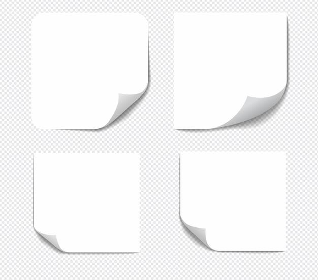 Note appiccicose realistiche isolate con ombra reale su priorità bassa bianca. promemoria di carta adesiva quadrati con ombre.