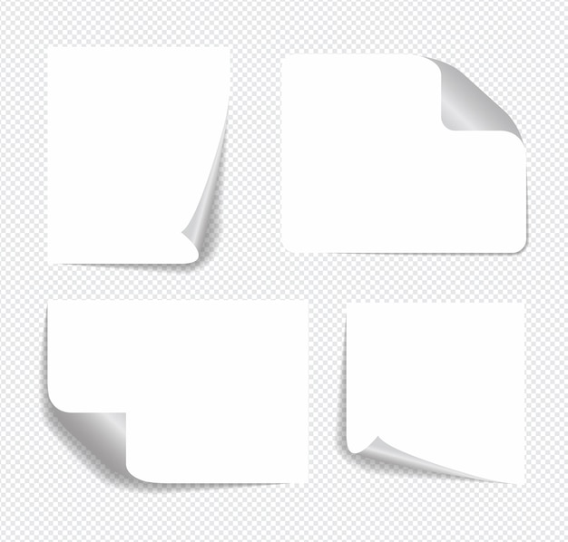 Note appiccicose realistiche isolate con ombra reale.