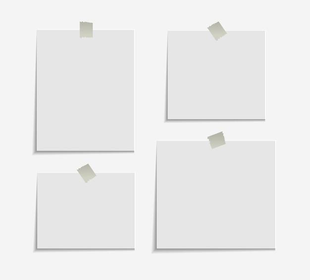 Note appiccicose realistiche isolate con ombra reale Vettore Premium