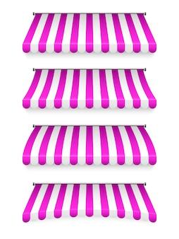 Parasole per negozio a strisce realistico. tenda da sole da negozio. pensilina. set di tende da negozio.