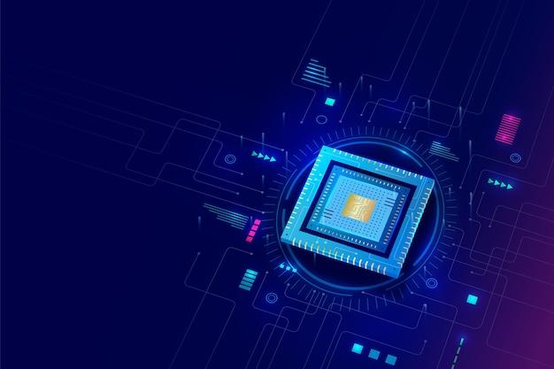 Sfondo di processore microchip stile realistico