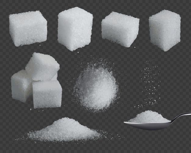 Zucchero realistico. glucosio 3d in cubetti e polvere. zucchero di grano bianco in cucchiaio, cima del mucchio e viste laterali. insieme di vettore di condimento dolce al fruttosio