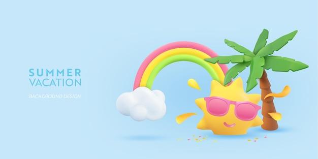 Progettazione realistica del volantino estivo 3d. renda di scena la palma tropicale, il sole, l'arcobaleno, la nuvola. oggetti da spiaggia tropicale, poster web per le vacanze, banner, brochure stagionale, copertina. sfondo moderno estivo
