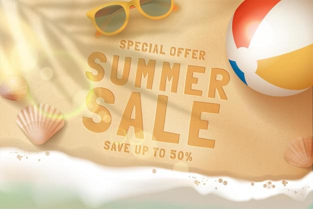 Realistico concetto di vendita estiva con tema della vita da spiaggia