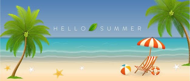 Banner estivo realistico con vista sulla spiaggia