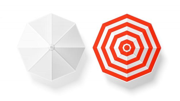 Vista superiore stabilita di bianco a strisce realistico dell'ombrello