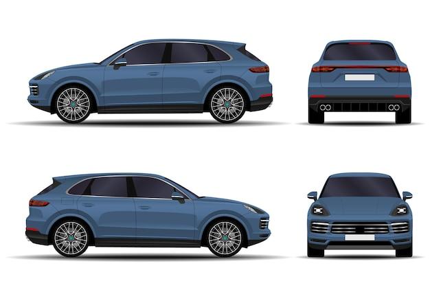 Auto suv realistica. vista frontale; vista laterale; vista posteriore.