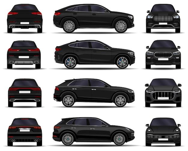 Set di auto suv realistiche. vista frontale; vista laterale; vista posteriore.