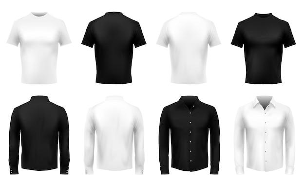 T-shirt e maglietta realistiche. uniforme maschile formale, abiti neri e camicie bianche.