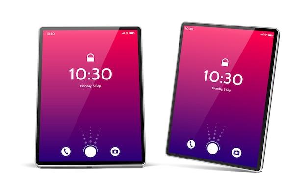 Computer tablet realistico con schermo luminoso set tablet pc vuoto con icone