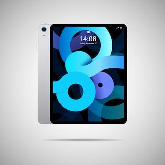Tablet pc realistico. illustrazione vettoriale nel design del telaio sottile alla moda con vista laterale anteriore e posteriore.