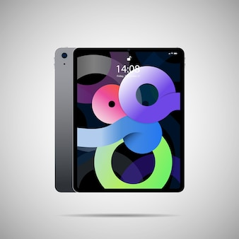Tablet pc realistico illustrazione vettoriale in un design sottile alla moda con vista laterale anteriore e posteriore