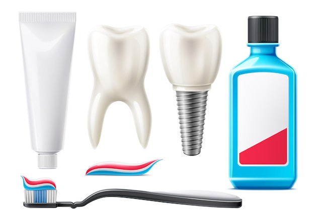 Set di prodotti per l'igiene orale e denti realistici