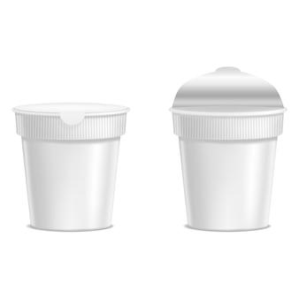 Modello realistico vuoto bianco noodle plastica confezione vuota mock up snack. illustrazione vettoriale