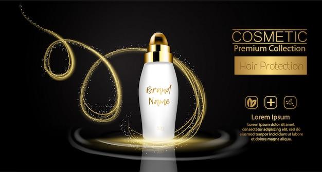 Un pacchetto cosmetico modello realistico. spruzzata 3d di olio liquido. spruzzi di olio di argan, confezione di prodotti cosmetici per la protezione dei capelli.